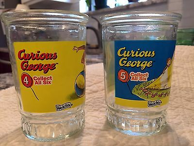 Vintage Curious George Welch's Jelly Glasses #4 and #5