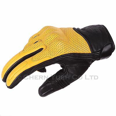 Black/Yellow Vented Leather Knuckle Protection Motorcycle Gloves Large Carabiner