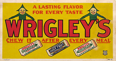 WRIGLEY'S - SPEARMINT, JUICY FRUIT, DOUBLEMINT 1926 original Trolley Card poster