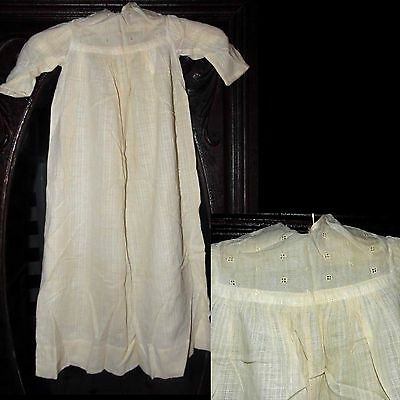 Antique 1800s Lovely Check Victorian Embroidered Eyelet  Dress Christening Gown