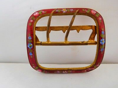 Very Pretty Antique Gilt Metal And Enamel Buckle