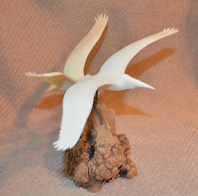 Pelicans in Flight on Burl Wood Base by John Perry 11 inch wing span