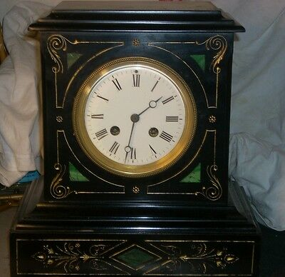 Antique japy freres slate & marble mantle clock with gilding c1880 working
