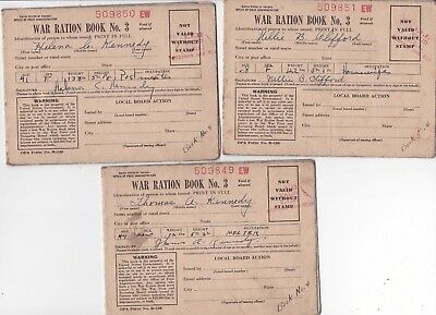 "Lot of three WWII ""WAR RATION BOOK NO 3"""