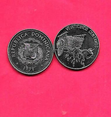 Dominican Republic Km71.1 1991 Unc-Uncirculated Mint Large 25 Centavos Coin