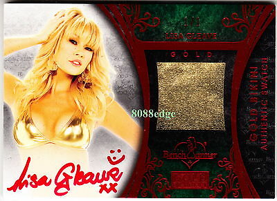 2013 Benchwarmer Gold Bikini Auto: Lisa Gleave #1/1 Of Red Autograph Worn Swatch