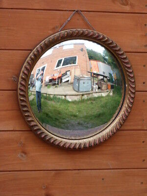 Lovely Vintage Mid Century Convex Glass Round Wall Mirror.