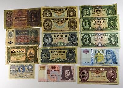 LOT OF 14 - HUNGARY CURRENCY OLD & NEW - VG to AU