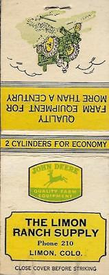 LIMON RANCH SUPPLY w/JD Tractor FS Matchbook Cover LIMON, COLORADO