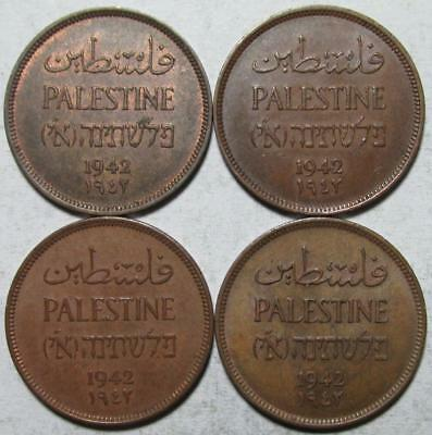 Palestine, Mils, 1942, 3 Almost Uncirculated & 1 Extra Fine,  Bronze