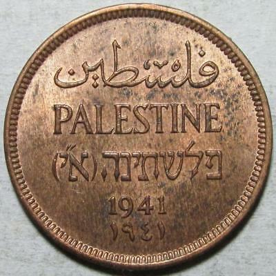 Palestine, Mil, 1941, Red Brown Uncirculated, w/Luster, Bronze