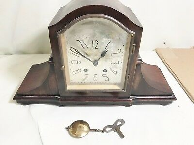 Vintage Antique Mantel Clock Working Order With Key Chiming