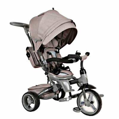 Kids Grey 6 in 1 Trike Pushchair Baby Toddler Bike Ride On Tricycle With Handle