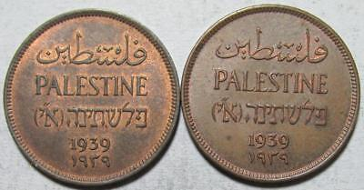 Palestine, Mil, 1939, Almost Uncirculated, 2 Pieces, Some Luster, Bronze