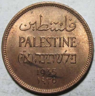 Palestine, Mil, 1935, Red Brown Uncirculated, w/Luster, Low Mintage, Bronze