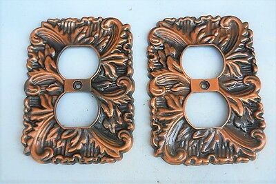 VINTAGE ORNATE METAL OUTLET PLATE COVERS .Lot of (2)