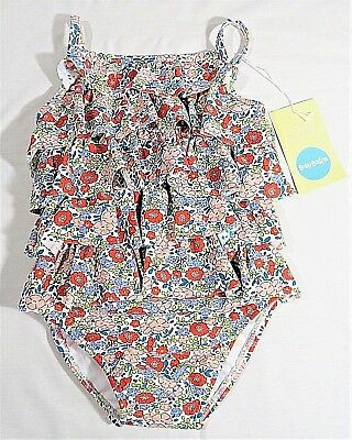 NWT BABY BODEN RUFFLE One Piece PINK Flower Bed Girl's Swimsuit Size 2-3 years