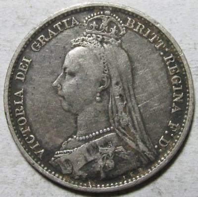 Great Britain, 6 Pence, 1892, Fine, Victoria, .0842 Ounce Silver