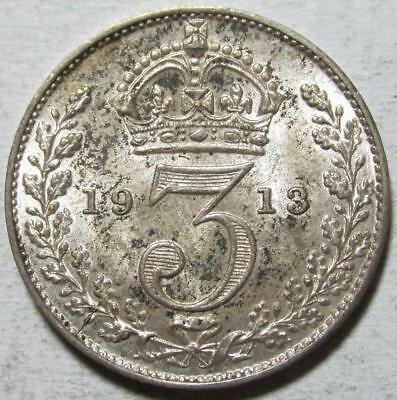 Great Britain, 3 Pence, 1913, Toned Uncirculated, .042 Ounce Silver, #1