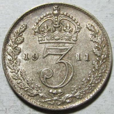 Great Britain, 3 Pence, 1911, Toned Extra Fine, .042 Ounce Silver