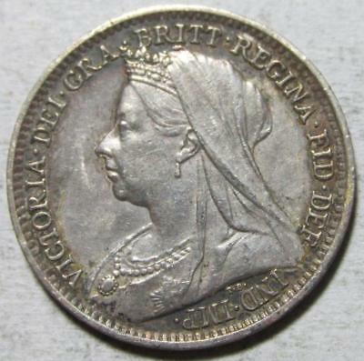 Great Britain, 3 Pence, 1897, Toned Almost Uncirculated, .042 Ounce Silver
