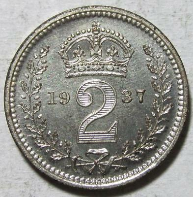 Great Britain, Maundy 2 Pence, 1937, Gem Prooflike Uncirculated, 1,472 Struck