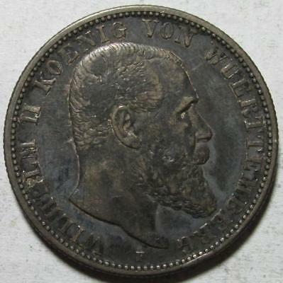 Wurttemberg, Germany, 2 Mark, 1905F, Darkly Toned Very Fine, .3215 Ounce Silver