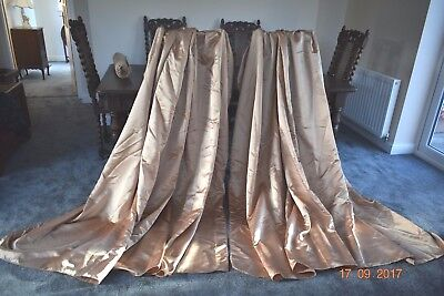 Vintage French Boudoir Curtains Gold Satin Shabby Chic
