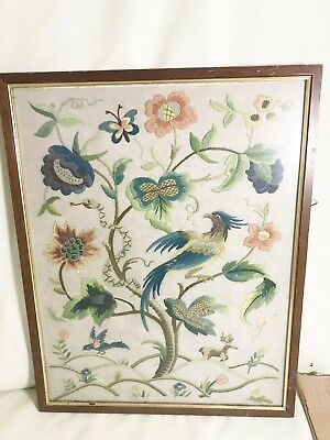 Antique Chinese Silk Embroidered Bird Framed Picture Image Vintage Oriental
