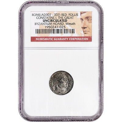 307 - 337 AD Rome Constatine I the Great Red. Follis Ancient Coin - NGC Unc