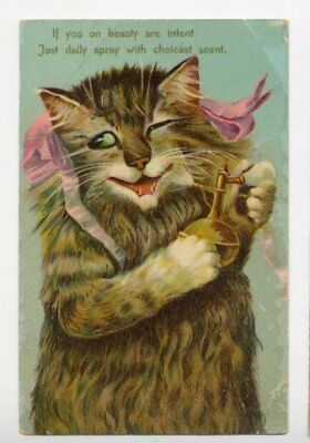 Boulanger,m Cat With Pink Ribbons Perfume Spray   Old Postcard 1900's