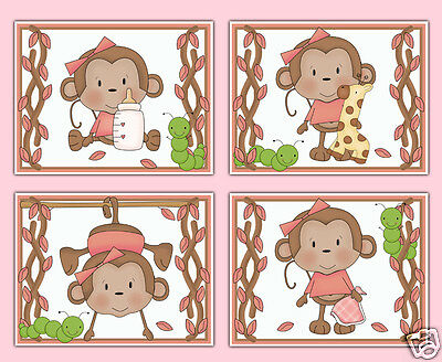 Hanging Safari Monkey Wall Art Prints Baby Girl Pink Nursery Jungle Animal Decor