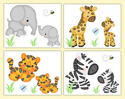 Safari Jungle Animals Nursery Prints Baby Girl Boy Neutral Wall Art Elephant