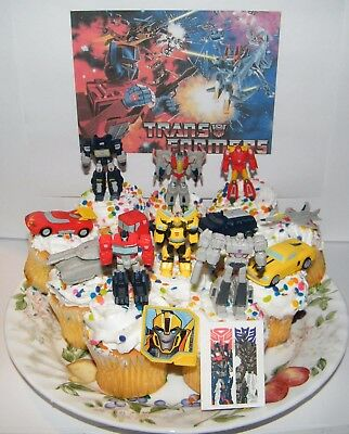 Transformers Cake Toppers  Set of 14 with 12 Figures / Vehicles, Tattoo and Ring