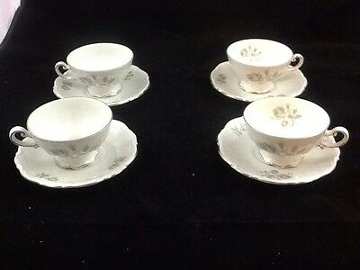 Set of 4 Cups and Saucers Mitterteich Mystic Rose Pattern