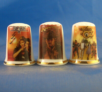 Fine Porcelain China Thimbles - Set Of Three Top Movie Posters