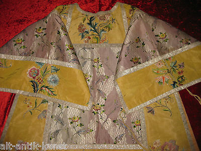 Silver+Silk Embroidery Chasuble Around 1700 Vestment Antique Unique