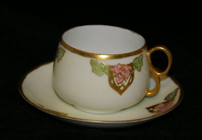 Set Of 4  Art Nouveau Hand Painted Cup & Saucer Duos 1926 - 1928