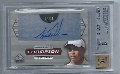 UD Game Used Golf Marks of a Champion MC1 #01/15! Tiger Woods BGS Mint 9 Auto 10