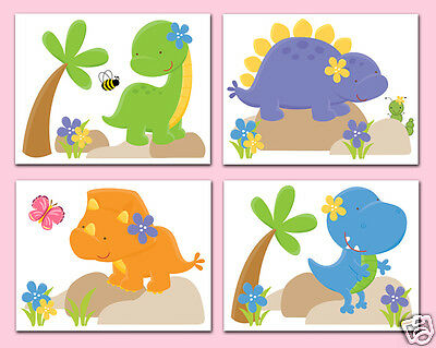 Dinosaur Nursery Decor Wall Art Prints Baby Girl T-Rex Dino Room Decorations