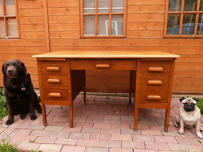 Vintage Mid Century Solid Light Oak Twin Pedestal Six Drawer Knee Hole Desk.