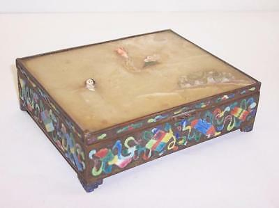 Antique CHINESE Enamelled Decorated TRINKET BOX With Jade Lid