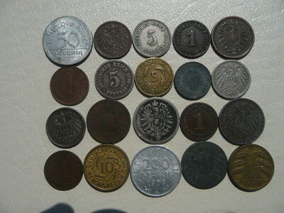 Lot of 20 Coins of Germany - Empire Weimar and Nazi