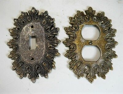 VINTAGE ORNATE EDGE METAL SWITCH/OUTLET PLATE COVERS .Lot of (2)
