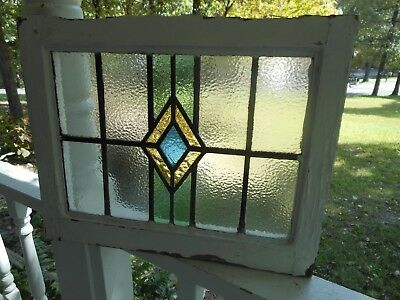 "DUR-165 Lovely ""Blue Diamond"" Leaded Stained Glass Window From England"