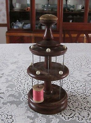 Vintage Antique Wood Thread Spool Sewing Stand Pin Cushion Top