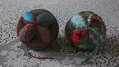 2 Vintage Antique Puzzle Ball Pin Cushion Sewing Amish Handmade