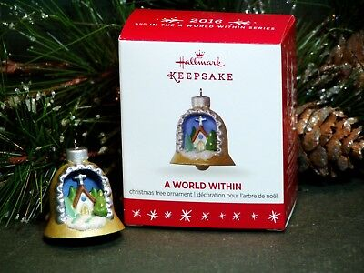 "2016 Hallmark Miniature Ornament ""A World Within"" #2 Series Church inside Bell"