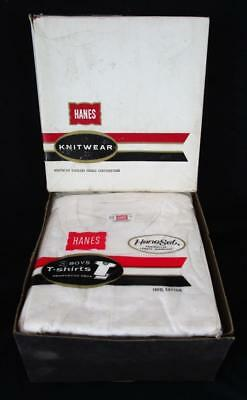 5 Nos Vintage 100% Cotton Hanes Boy's White Under 3 Packs T-Shirts Size 6