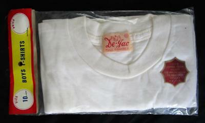 Nos Vintage 100% Cotton De-Jac Boy's White Under T-Shirt Size 10
